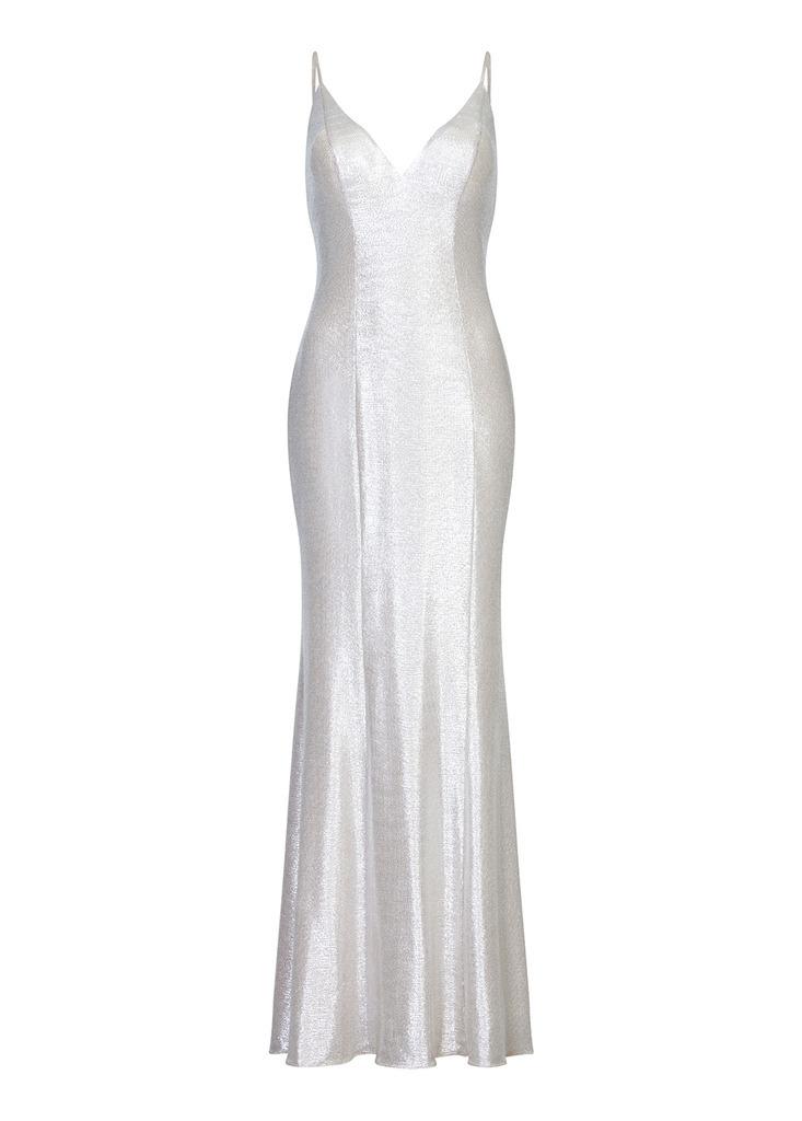 AIDAN Foiled Knit Mermaid Dress in White
