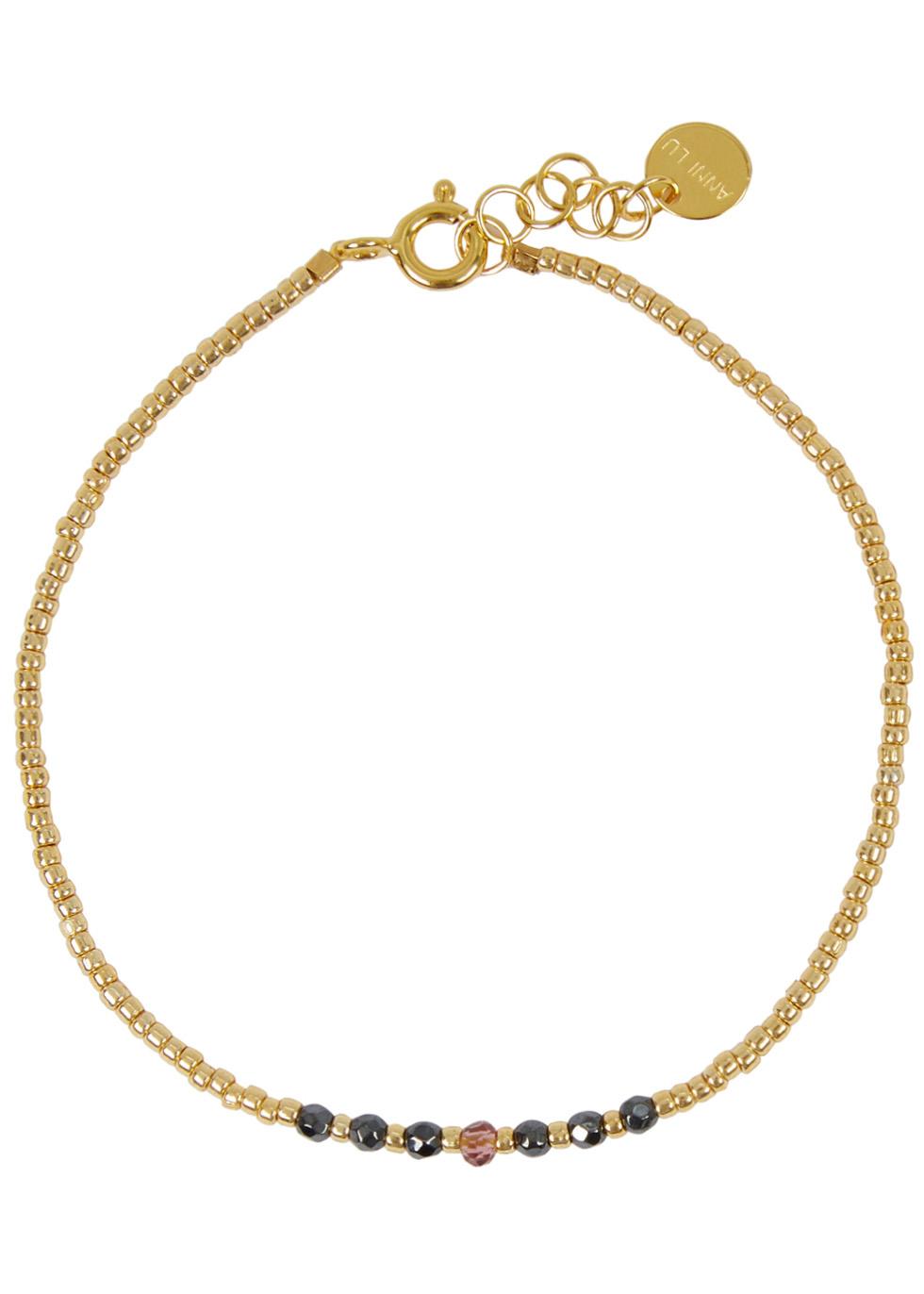 ANNI LU BEAD & GEM 01 18CT GOLD-PLATED BRACELET