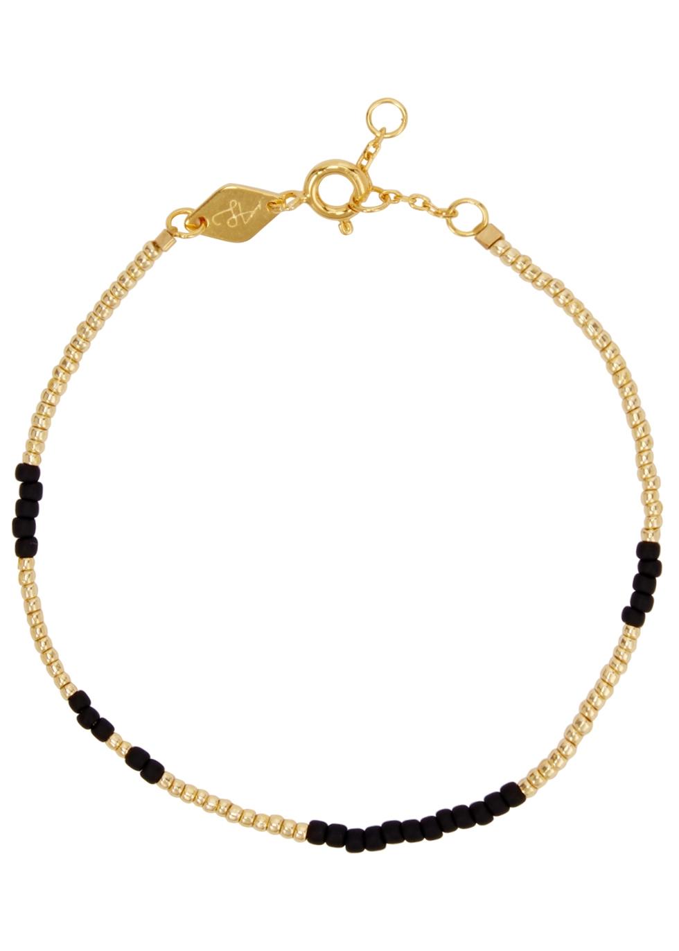 ANNI LU ASYM 18CT GOLD-PLATED BEADED BRACELET