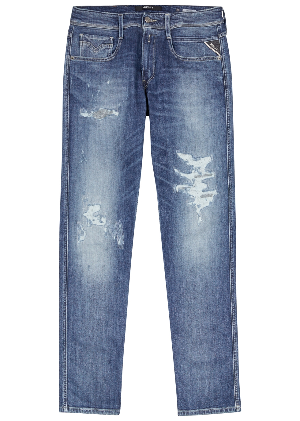 REPLAY Anbass Distressed Skinny Jeans in Mid Blu