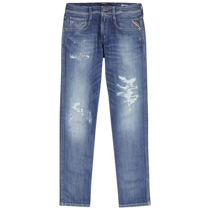 Replay Anbass Distressed Skinny Jeans