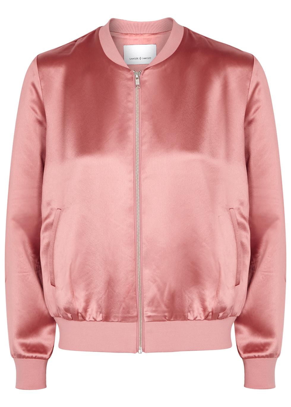 SAMS0E & SAMS0E Cara Pink Satin Bomber Jacket