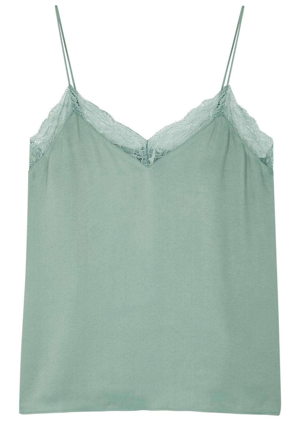 SAMS0E & SAMS0E Biafade Lace-Trimmed Satin Top in Green
