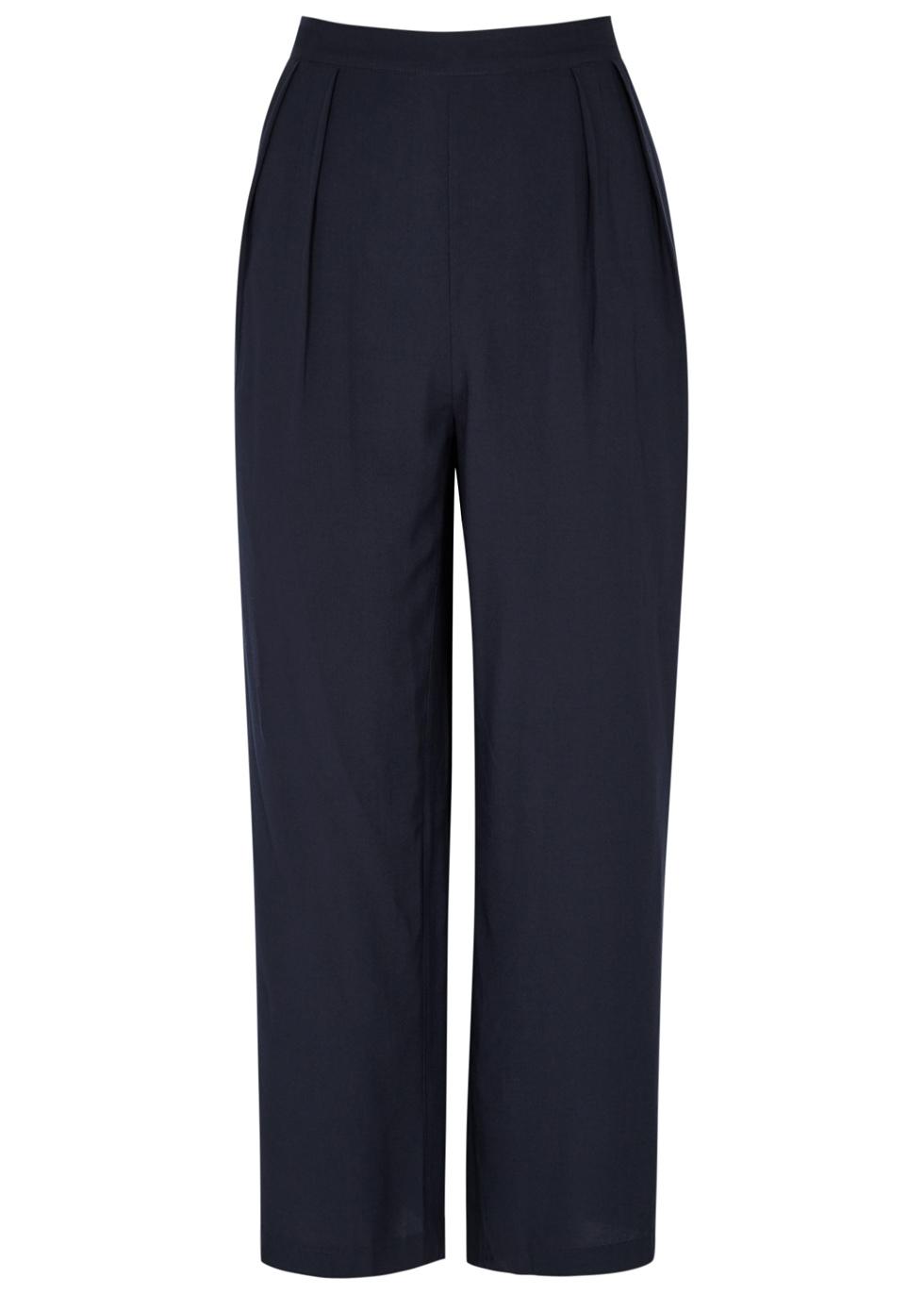 SAMS0E & SAMS0E Ganda Wide-Leg Jersey Trousers in Navy