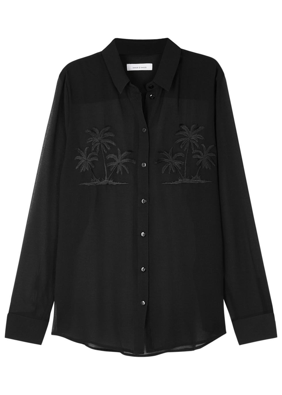 SAMS0E & SAMS0E Maj Embroidered Chiffon Shirt in Black