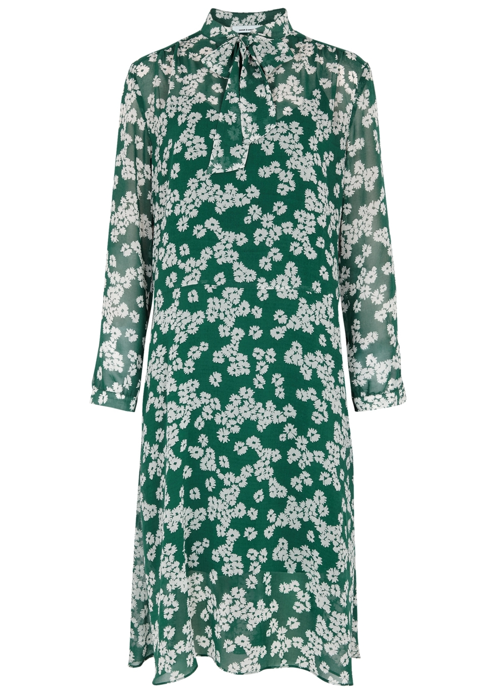SAMS0E & SAMS0E Merritt Daisy-Print Chiffon Dress in Green