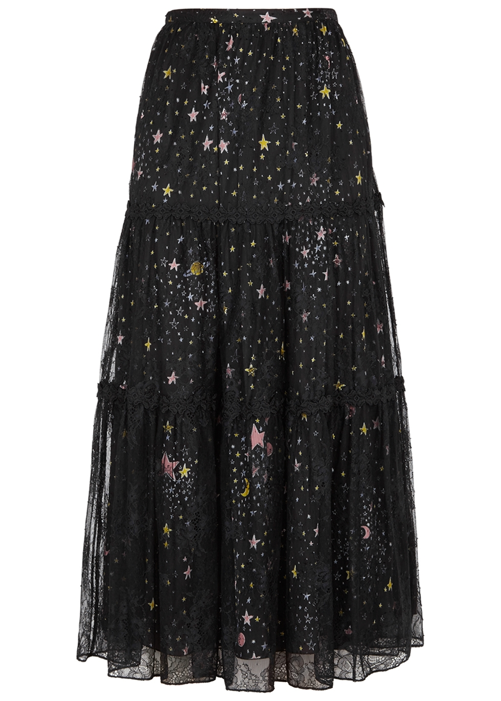 BOUTIQUE MOSCHINO PRINTED LACE AND SATIN MIDI SKIRT