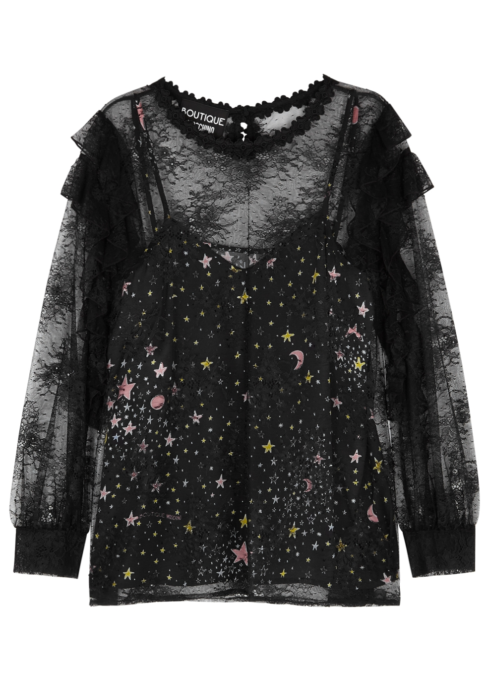 BOUTIQUE MOSCHINO BLACK SATIN AND LACE TOP