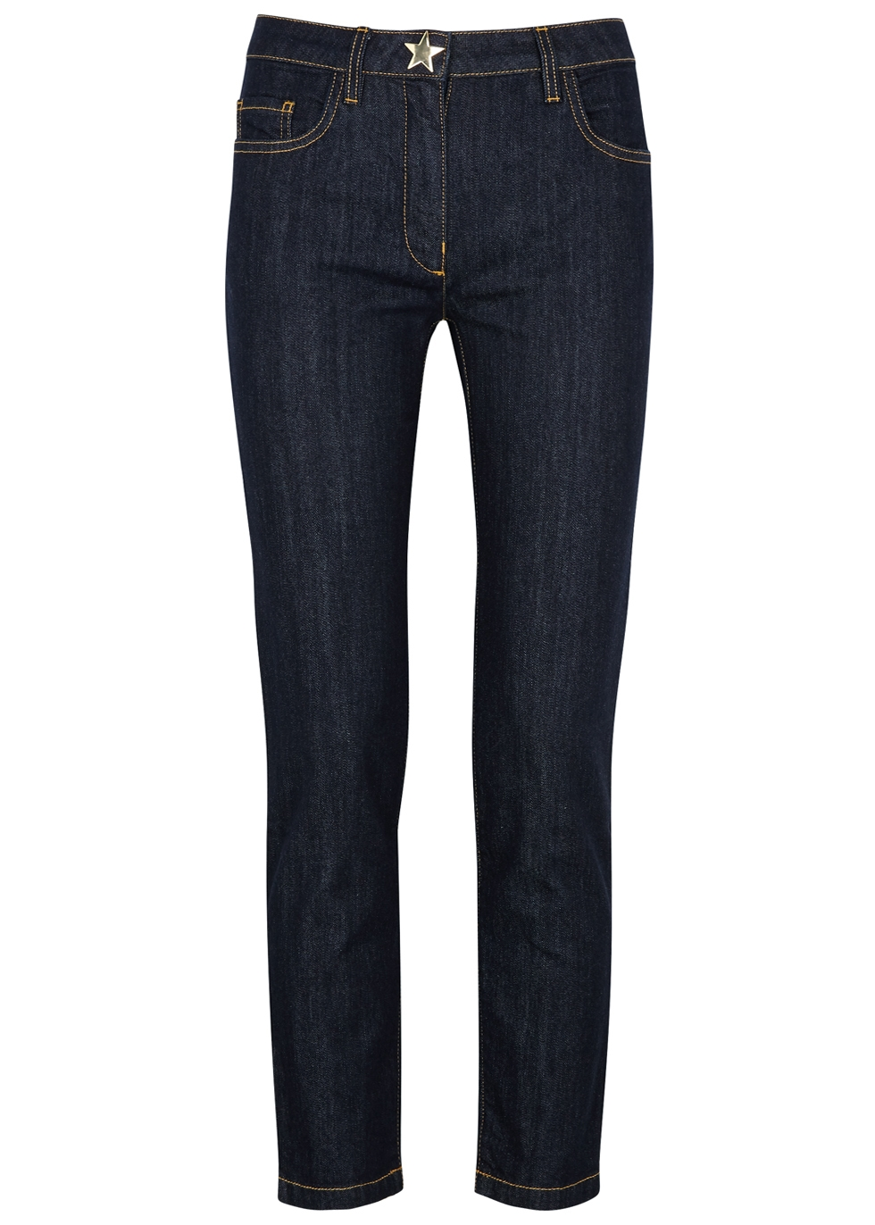 BOUTIQUE MOSCHINO NAVY STAR-PRINT STRAIGHT-LEG JEANS