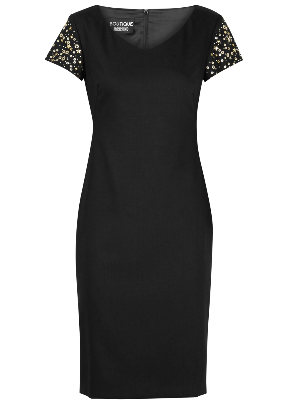 BOUTIQUE MOSCHINO STUD-EMBELLISHED WOOL-BLEND DRESS