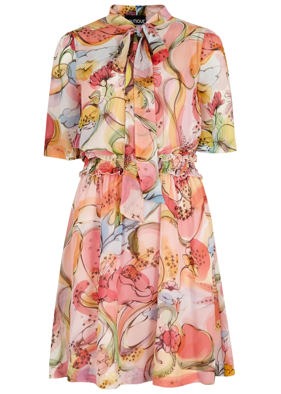 BOUTIQUE MOSCHINO FANTASY-PRINT SILK CHIFFON DRESS