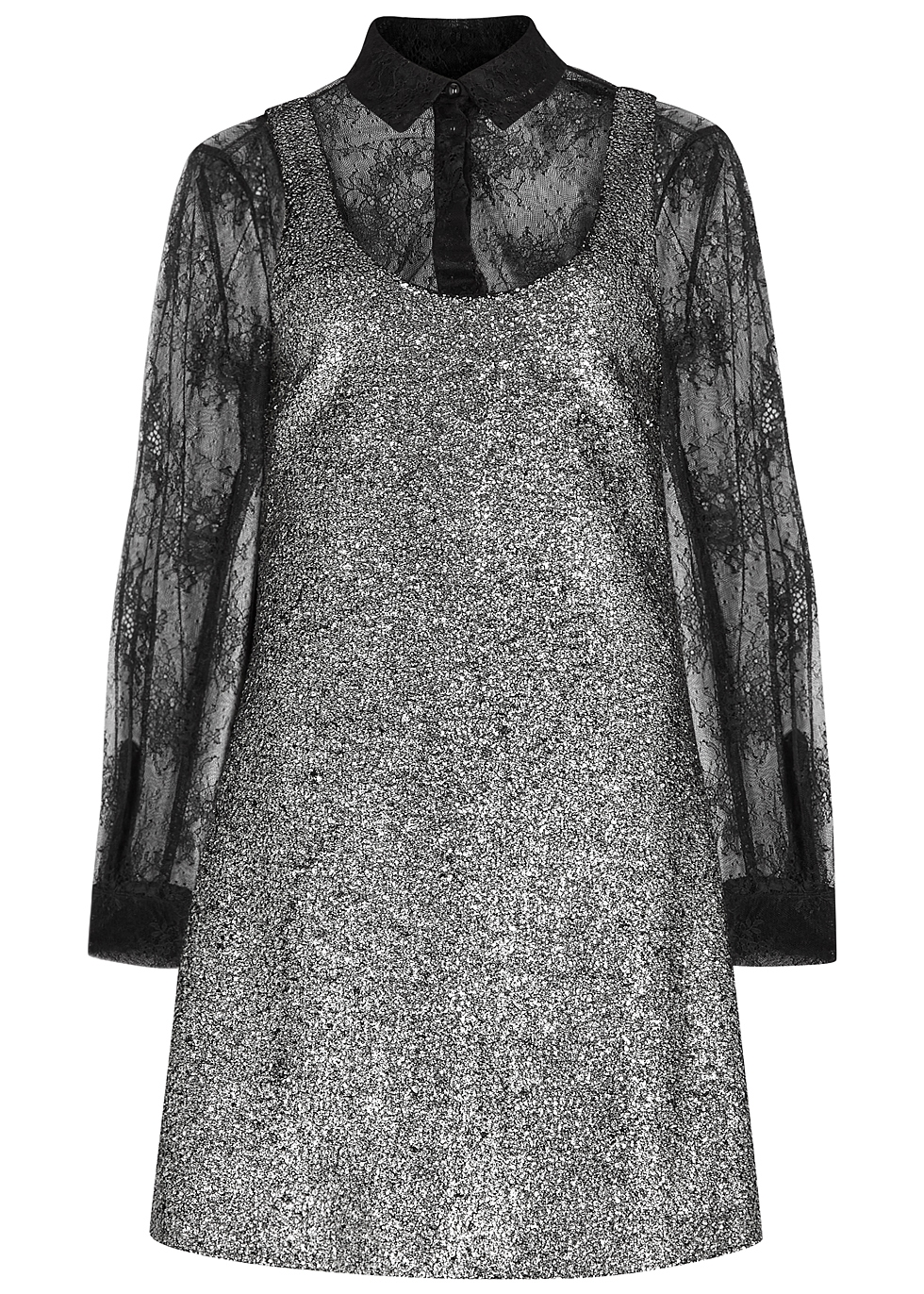 BOUTIQUE MOSCHINO SILVER BOUCLÉ AND LACE DRESS