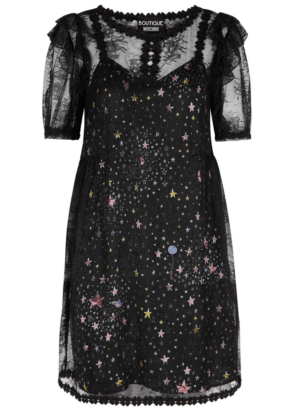 BOUTIQUE MOSCHINO BLACK PRINTED SATIN AND LACE DRESS
