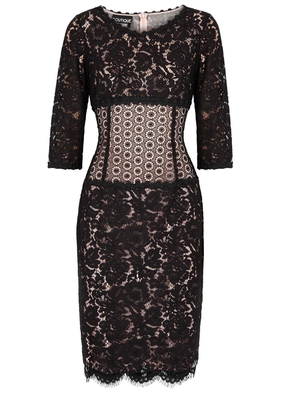 BOUTIQUE MOSCHINO BLACK PANELLED LACE DRESS