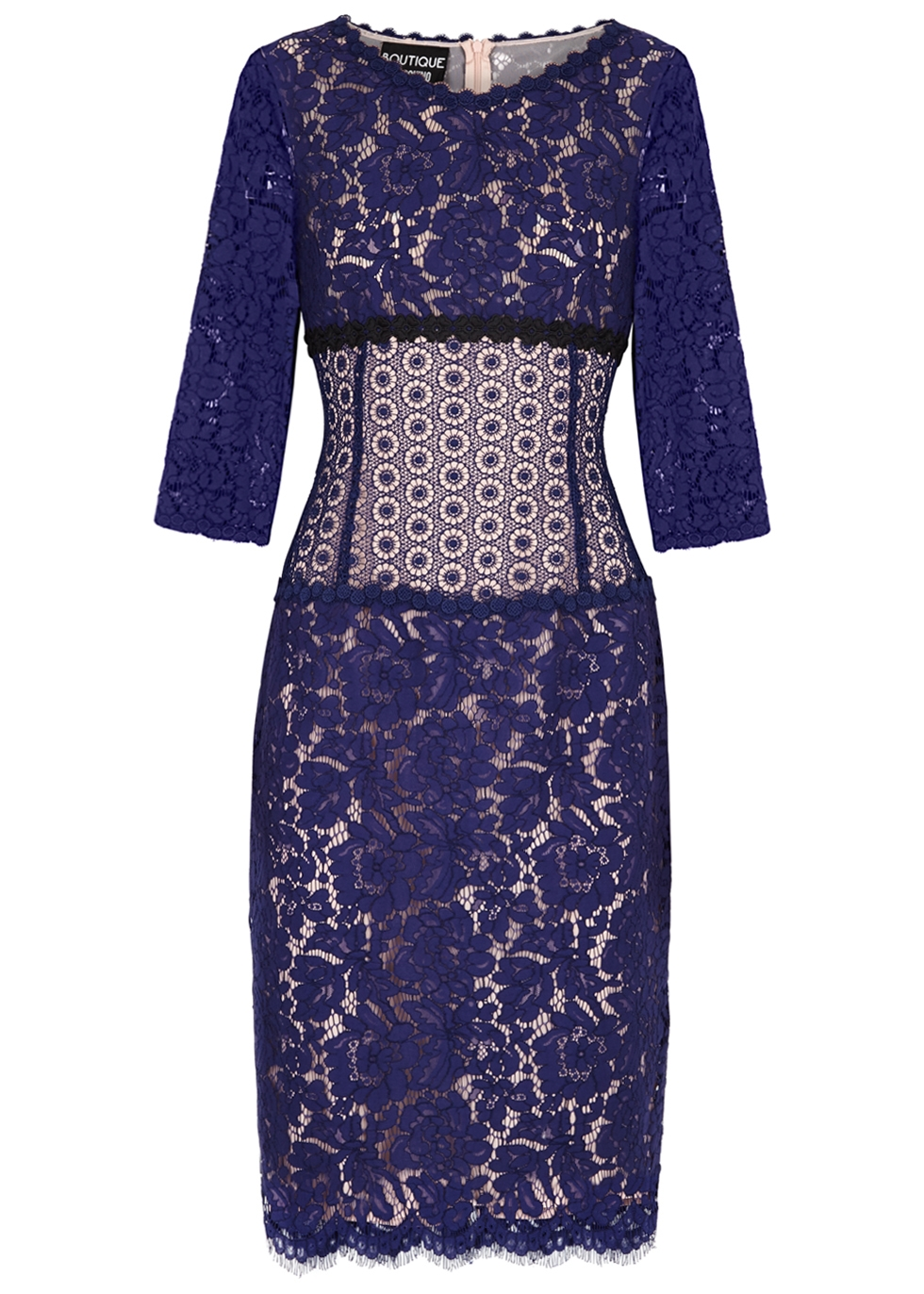 BOUTIQUE MOSCHINO BLUE PANELLED LACE DRESS