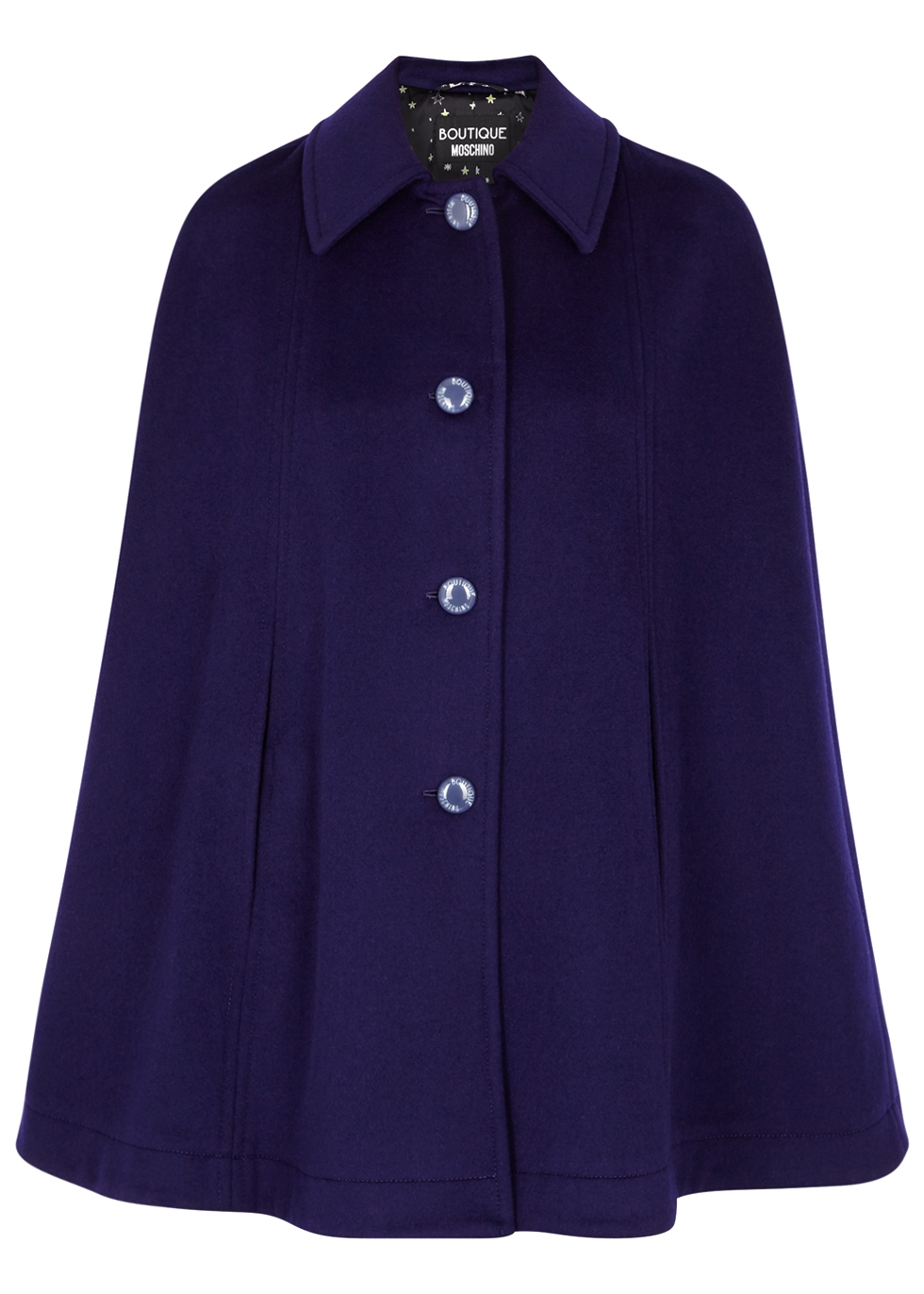 BOUTIQUE MOSCHINO NAVY WOOL-BLEND CAPE