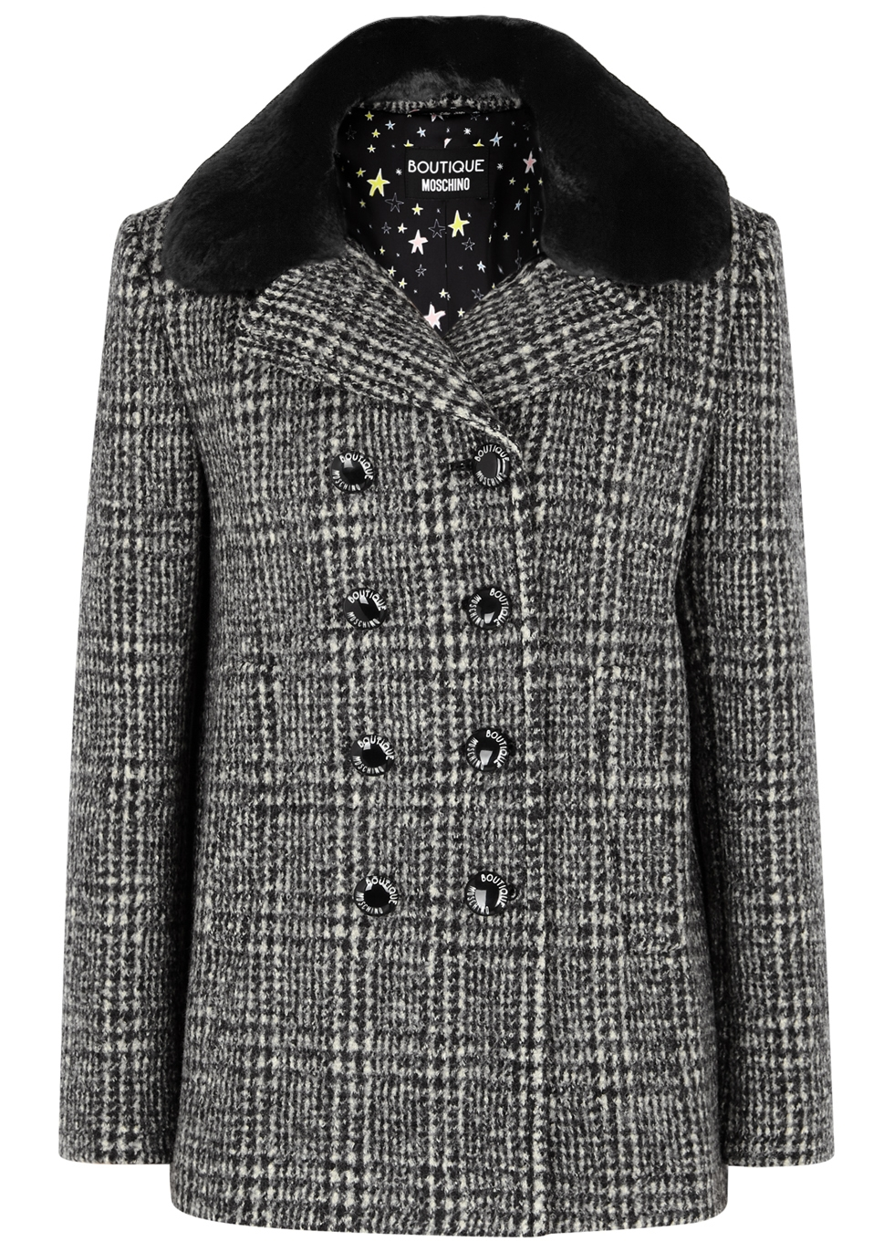 BOUTIQUE MOSCHINO CHECKED FUR-TRIMMED WOOL COAT