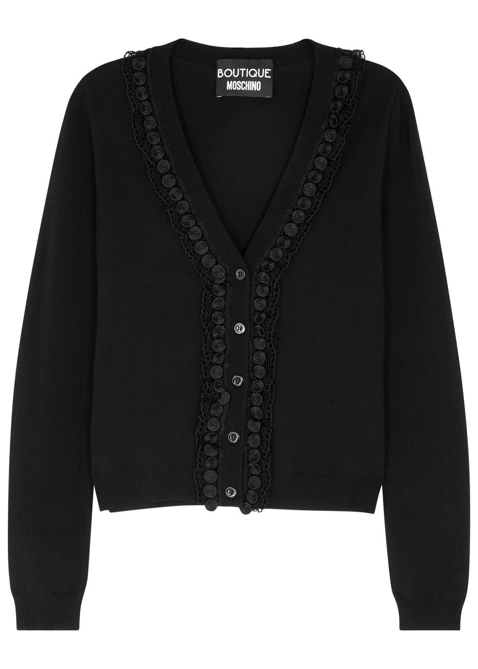 BOUTIQUE MOSCHINO BLACK LACE-TRIMMED JERSEY CARDIGAN