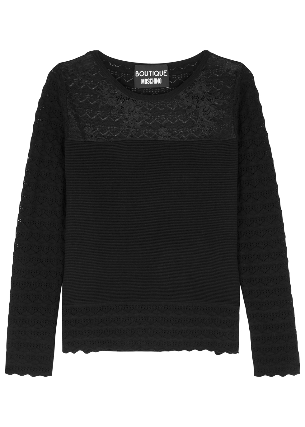 BOUTIQUE MOSCHINO BLACK RIBBED JERSEY JUMPER