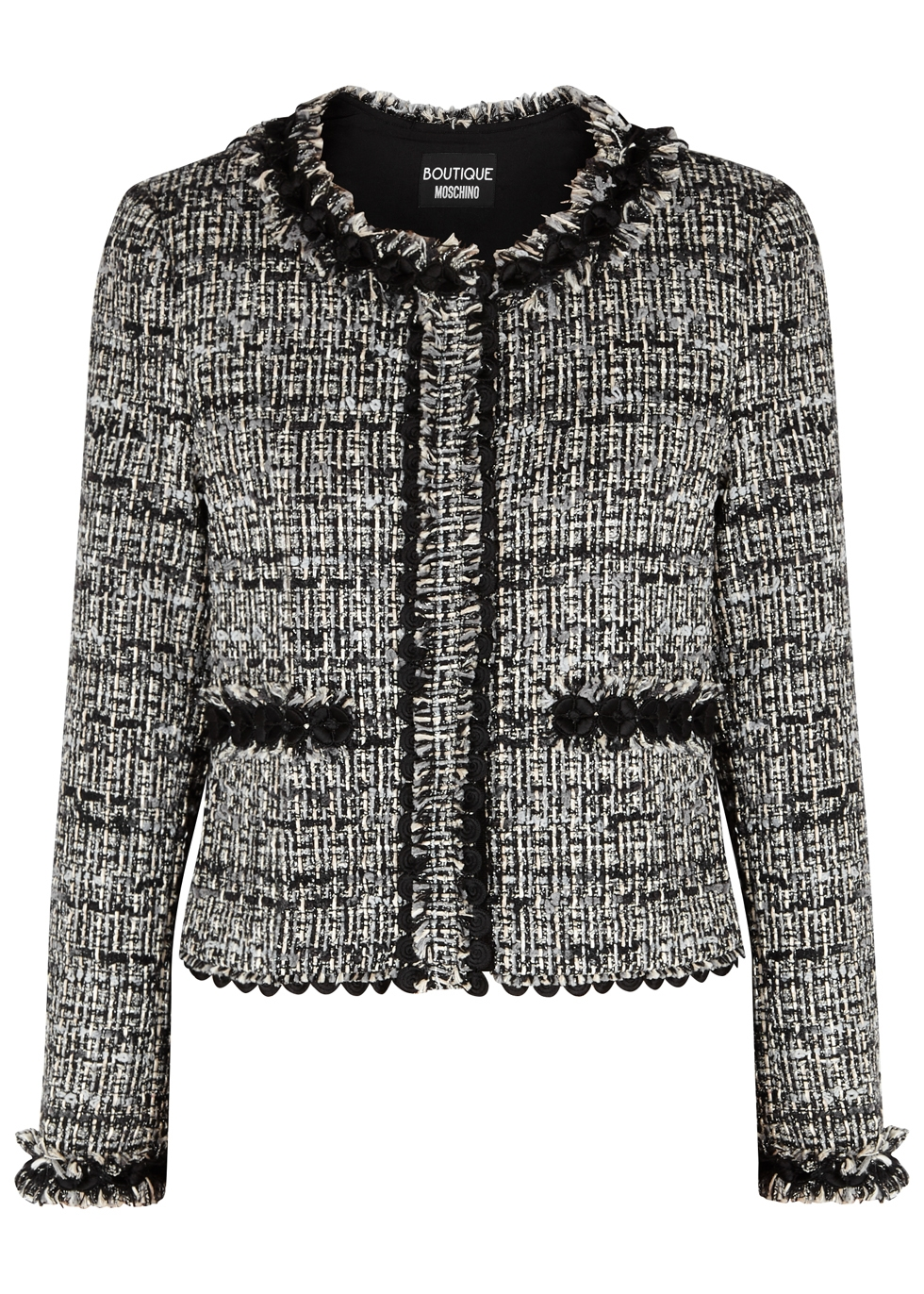 BOUTIQUE MOSCHINO LACE-TRIMMED TWEED JACKET