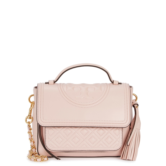 5c2e1ebb9060 Tory Burch Fleming Blush Leather Shoulder Bag In Light Pink ...