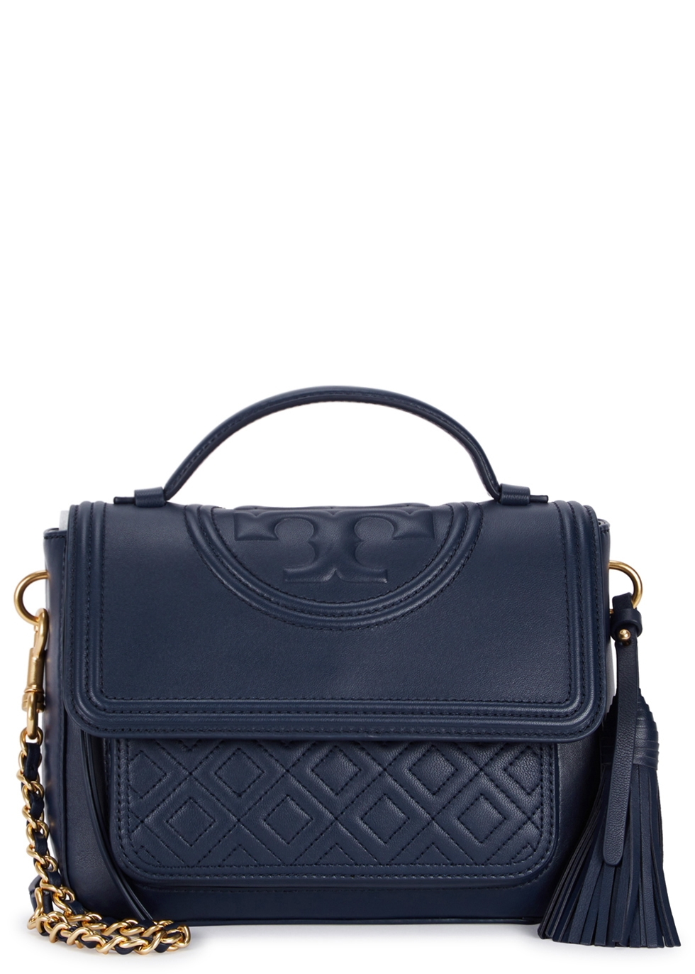 TORY BURCH FLEMING NAVY LEATHER SHOULDER BAG