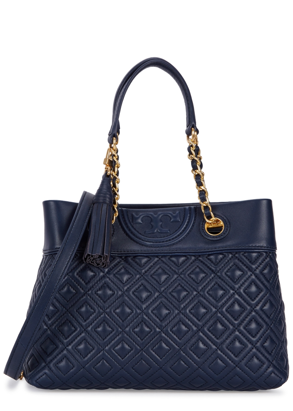 TORY BURCH FLEMING SMALL NAVY LEATHER TOTE