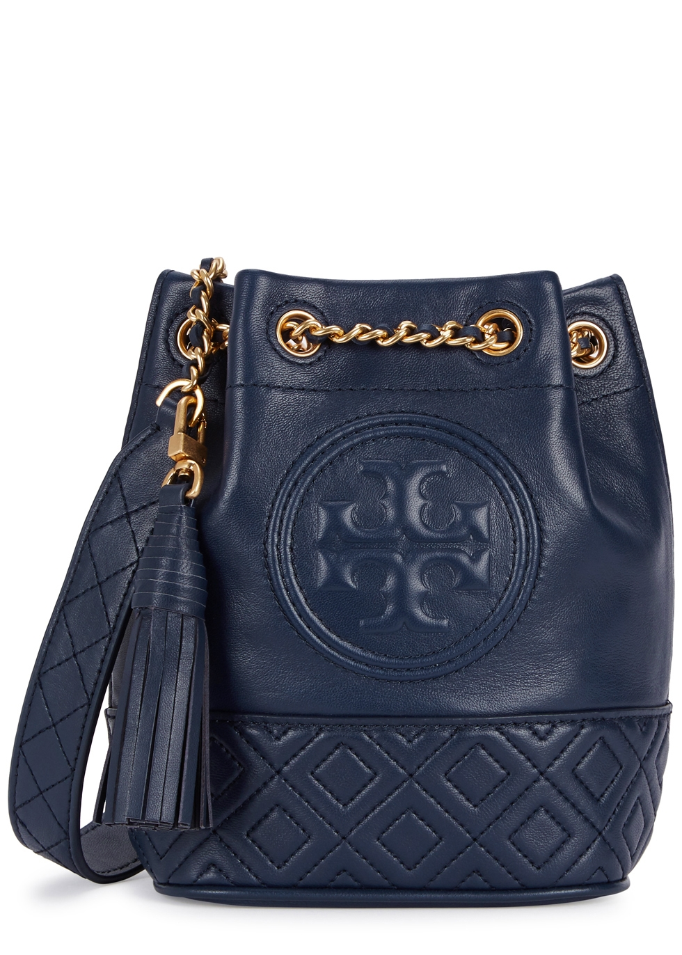 TORY BURCH FLEMING MINI NAVY LEATHER BUCKET BAG