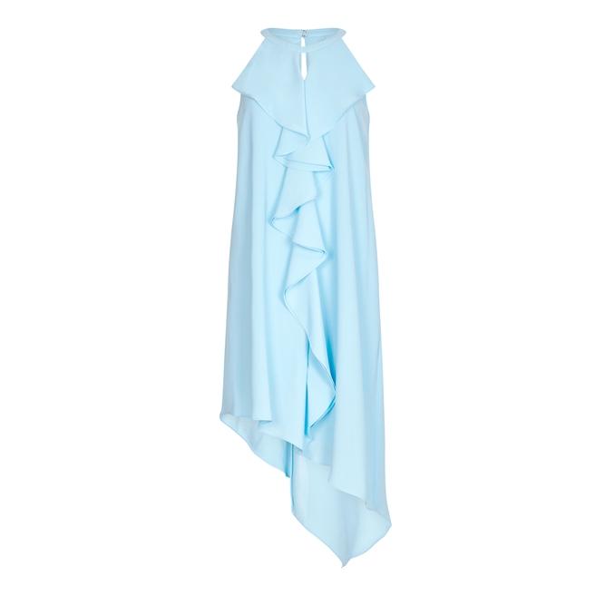 Adrianna Papell DOUBLE RUFFLE GAUZY CREPE DRESS
