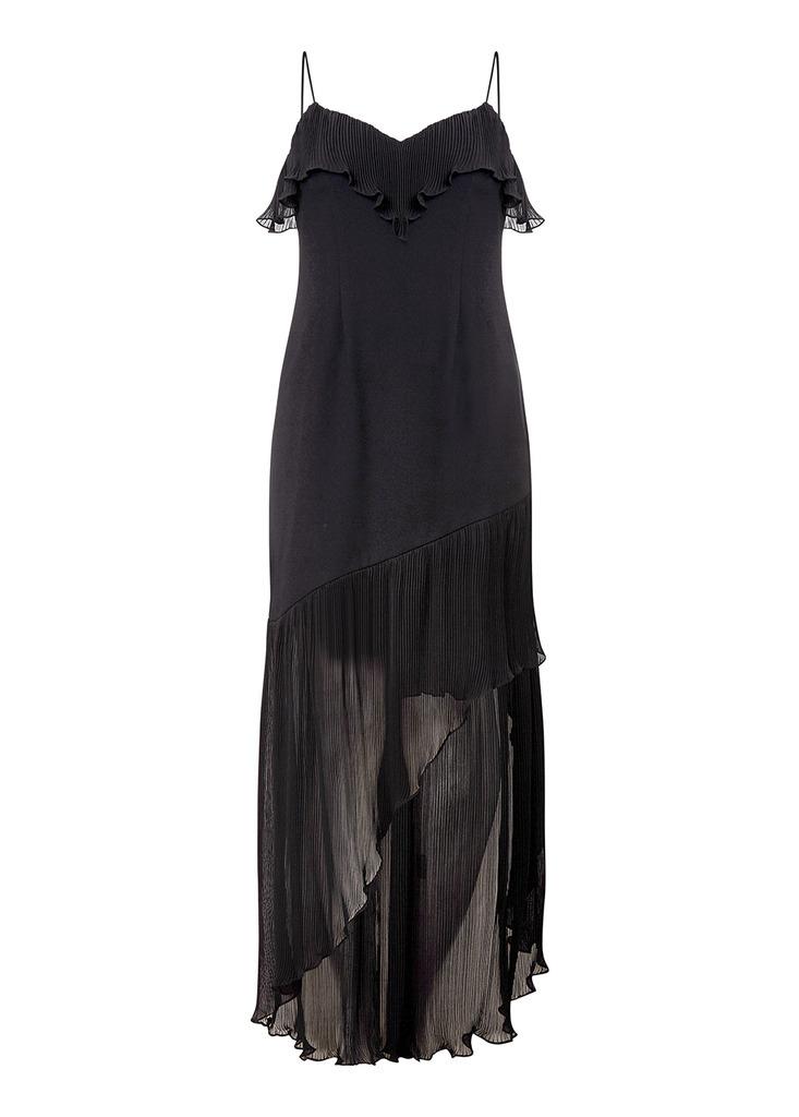 AIDAN Crepe And Chiffon Dress in Black