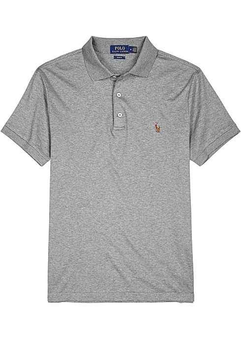 d8e2aa6a7a771 Polo Ralph Lauren Grey slim Pima cotton polo shirt - Harvey Nichols