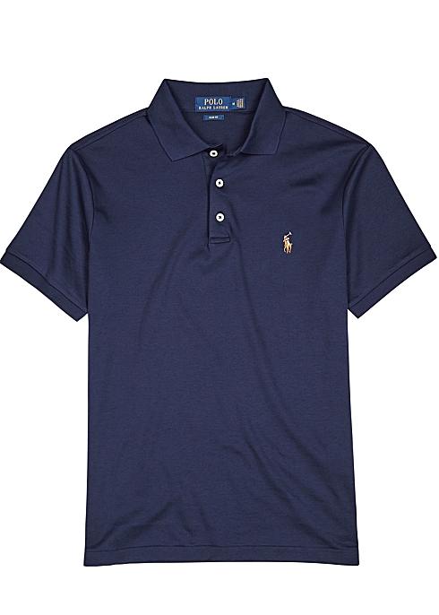 36e0b1be6 Polo Ralph Lauren Navy slim Pima cotton polo shirt - Harvey Nichols