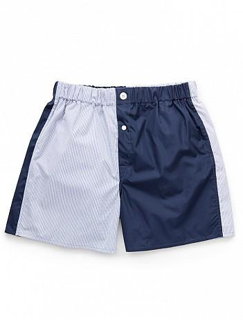 EMMA WILLIS Patchwork Cotton - Navy Boxer Shorts