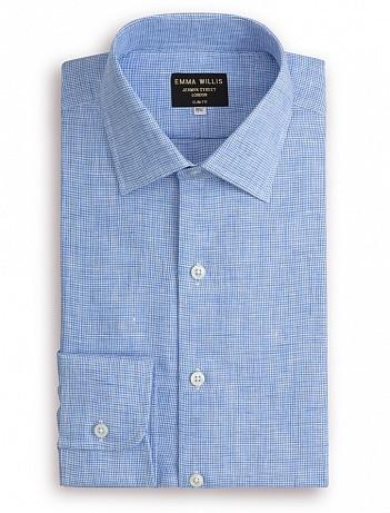 EMMA WILLIS Blue Houndstooth Check Linen Slim Fit Single Cuff Shirt