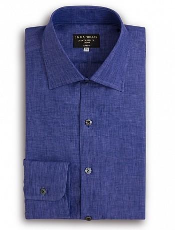 EMMA WILLIS Amethyst Linen Slim Fit Single Cuff Shirt