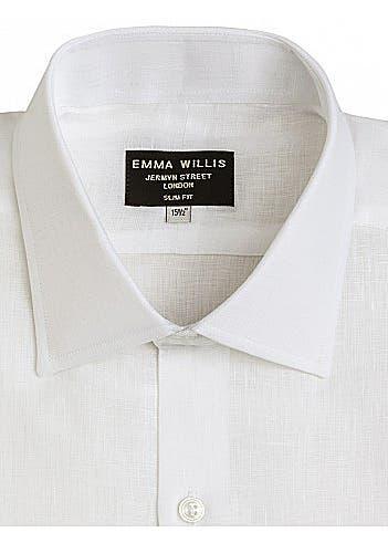 f5a59286 ... White linen slim fit single cuff shirt. Online Only. EMMA WILLIS