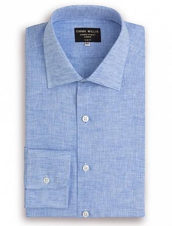 EMMA WILLIS Gesso Blue Linen Slim Fit Single Cuff Shirt