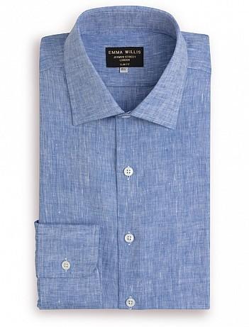 EMMA WILLIS Blue Linen Slim Fit Single Cuff Shirt