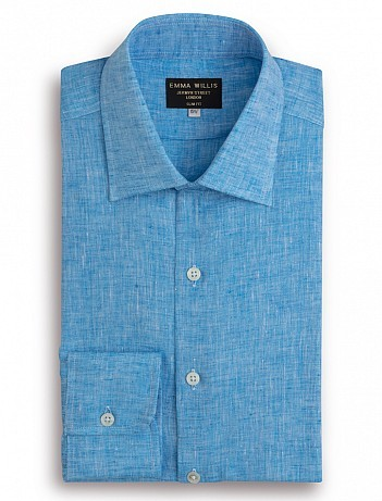 EMMA WILLIS Turquoise Linen Slim Fit Single Cuff Shirt