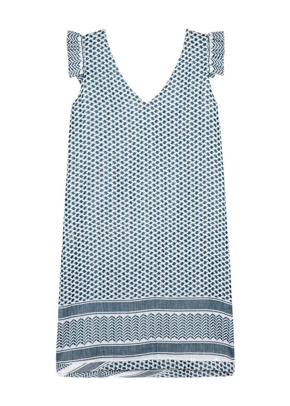CECILIE COPENHAGEN CARLY RUFFLE-TRIMMED JACQUARD DRESS