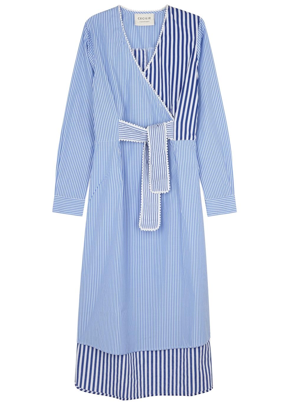 CECILIE COPENHAGEN ROLLERCONE STRIPED COTTON SHIRT DRESS