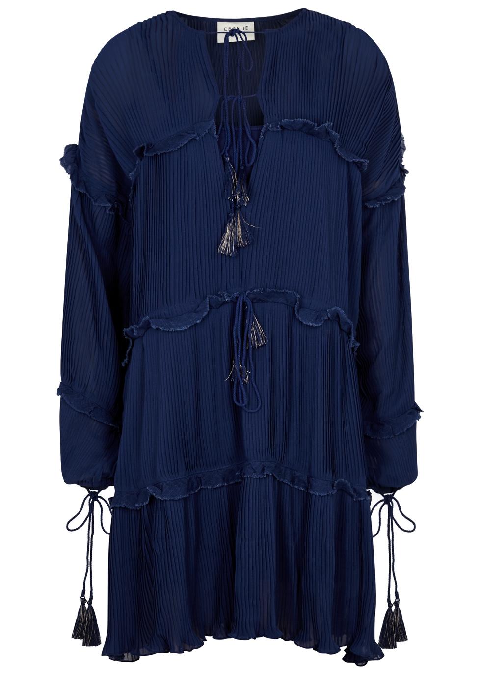 CECILIE COPENHAGEN PONGER PLEATED CHIFFON DRESS