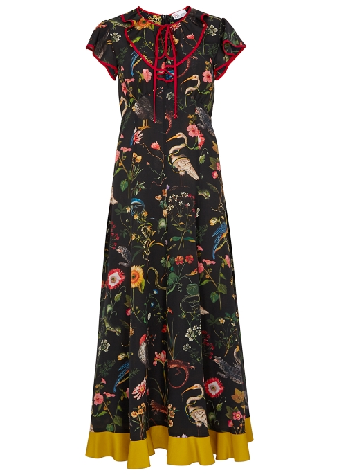 RED Valentino Black printed silk dress - Harvey Nichols