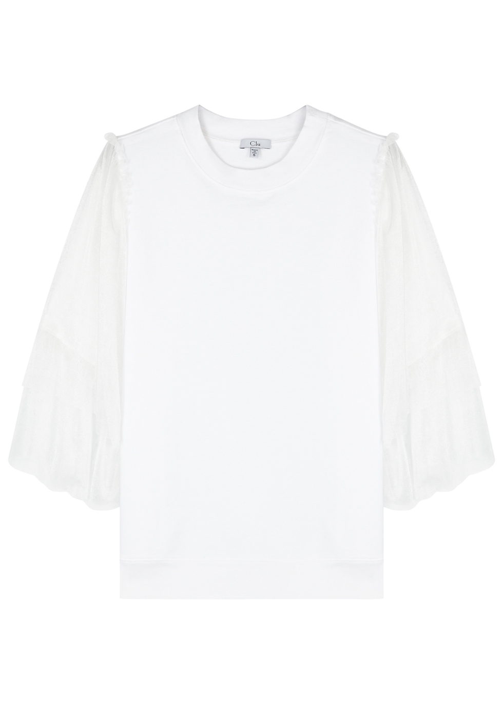CLU WHITE MESH AND COTTON JERSEY TOP
