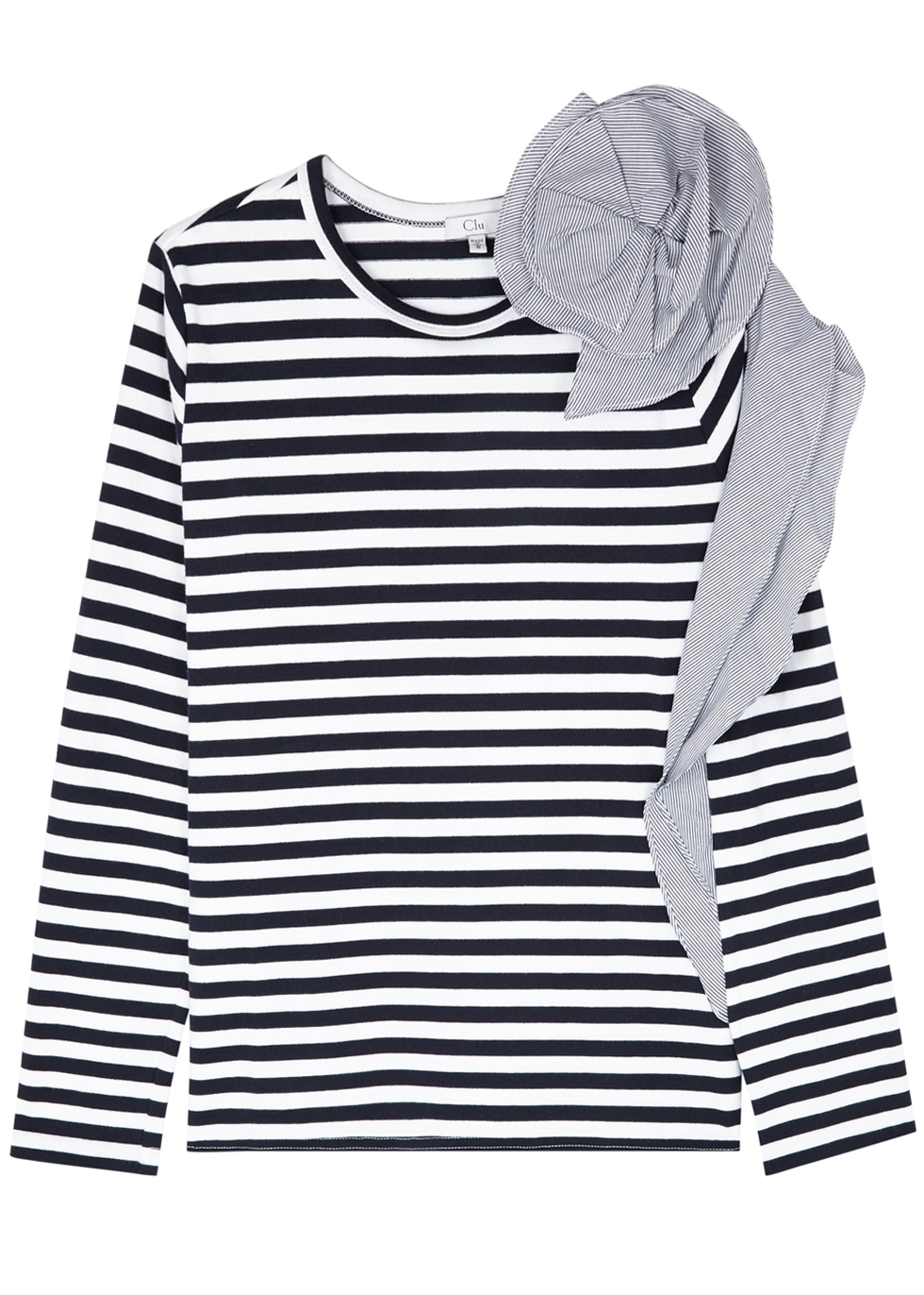 CLU STRIPED RUFFLE-TRIMMED JERSEY TOP