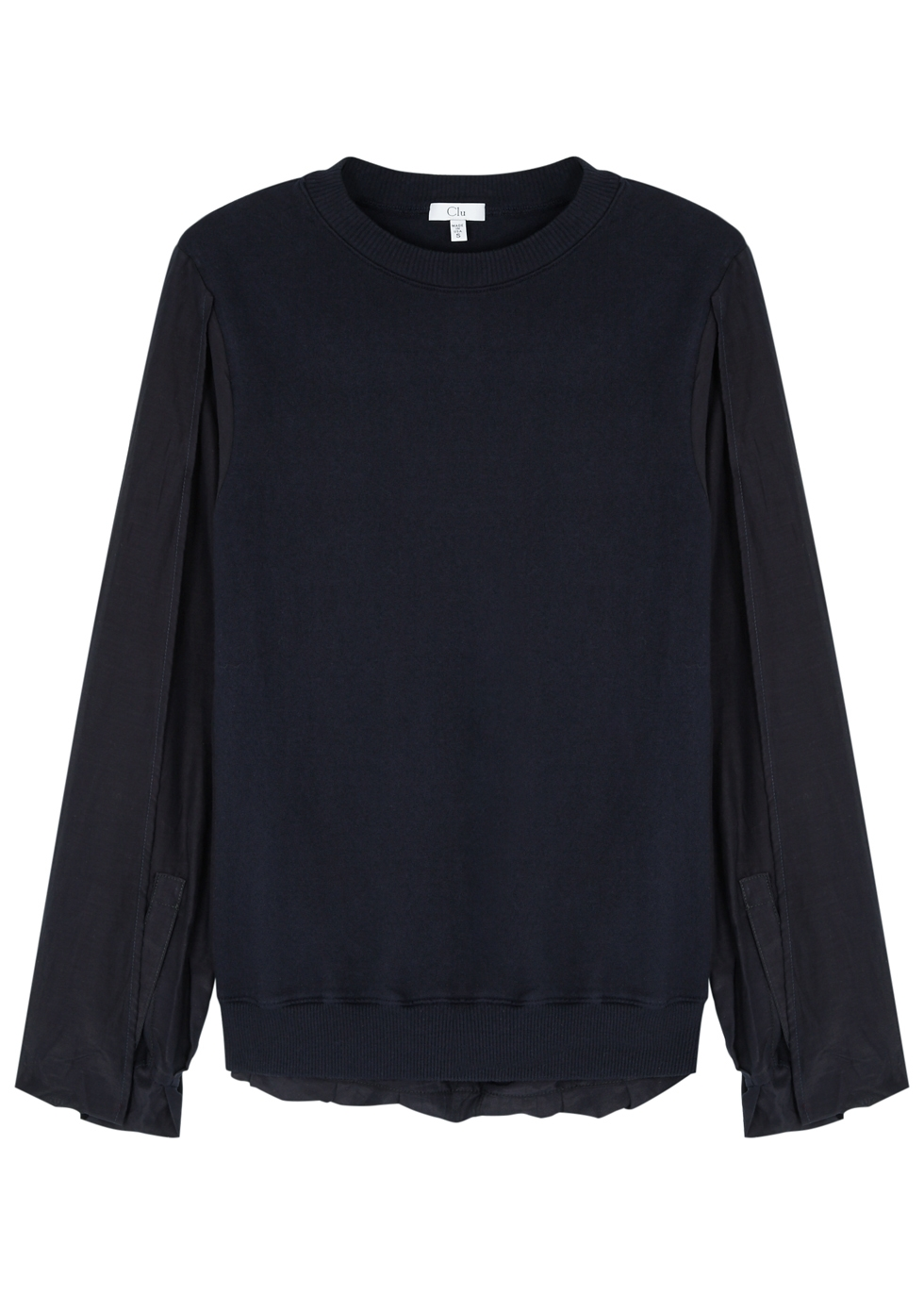 CLU NAVY SILK-BLEND AND JERSEY TOP