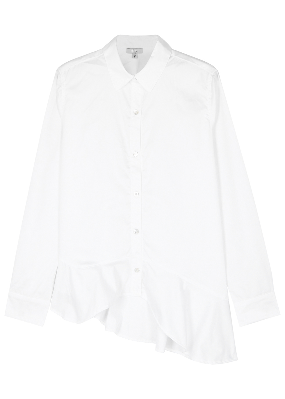 CLU WHITE RUFFLED-HEM POPLIN SHIRT