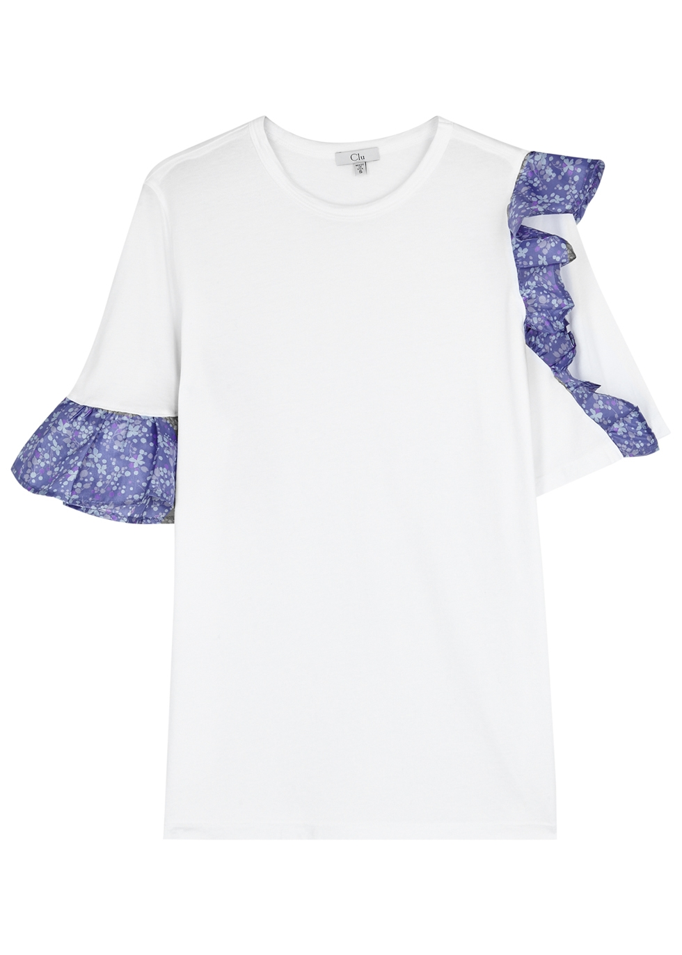 CLU WHITE RUFFLE-TRIMMED COTTON TOP