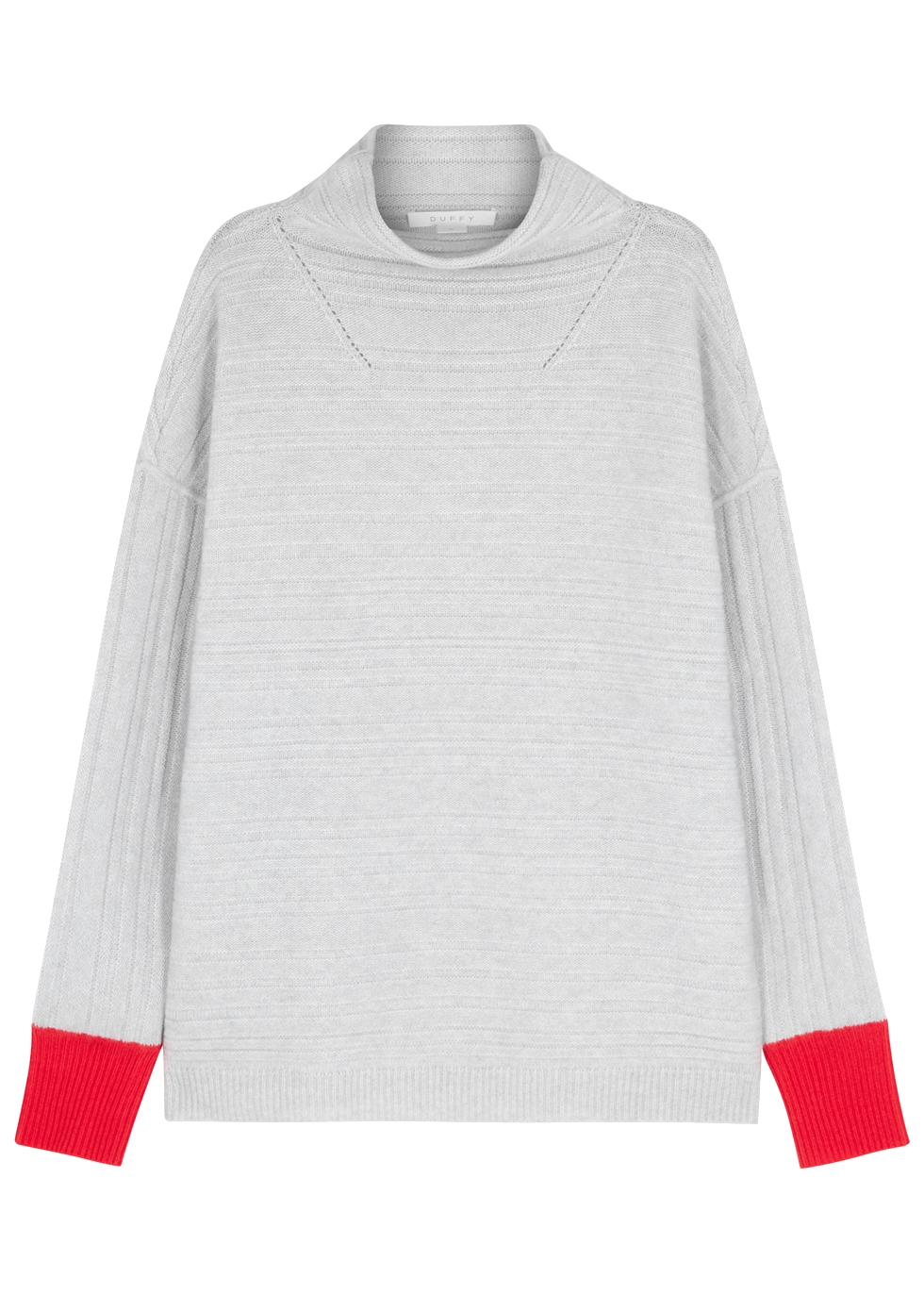 DUFFY GREY TEXTURED-KNIT CASHMERE JUMPER