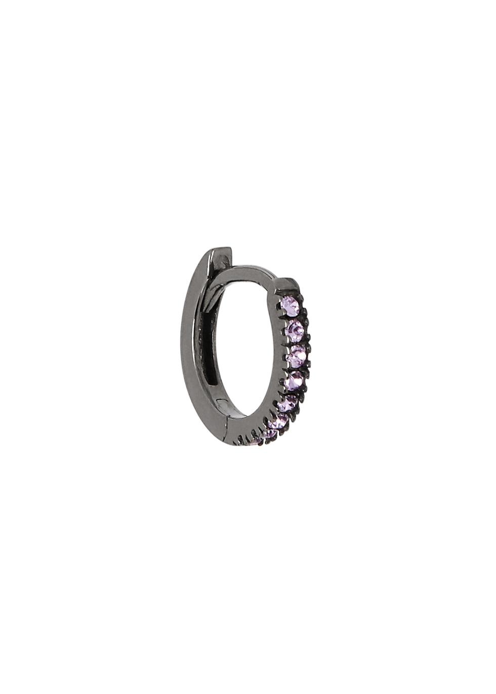 ROSIE FORTESCUE Black Rhodium-Plated Hoop Earring in Violet